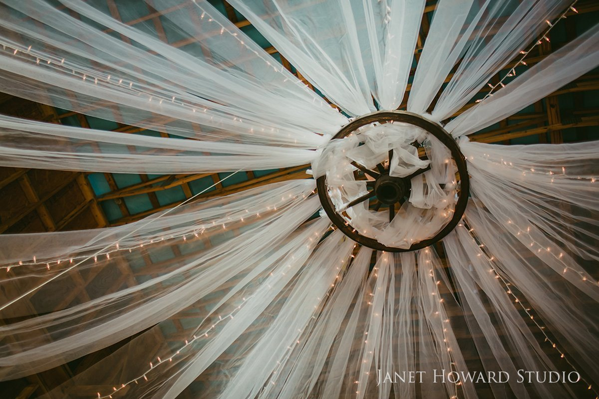 tulle ceiling in barn
