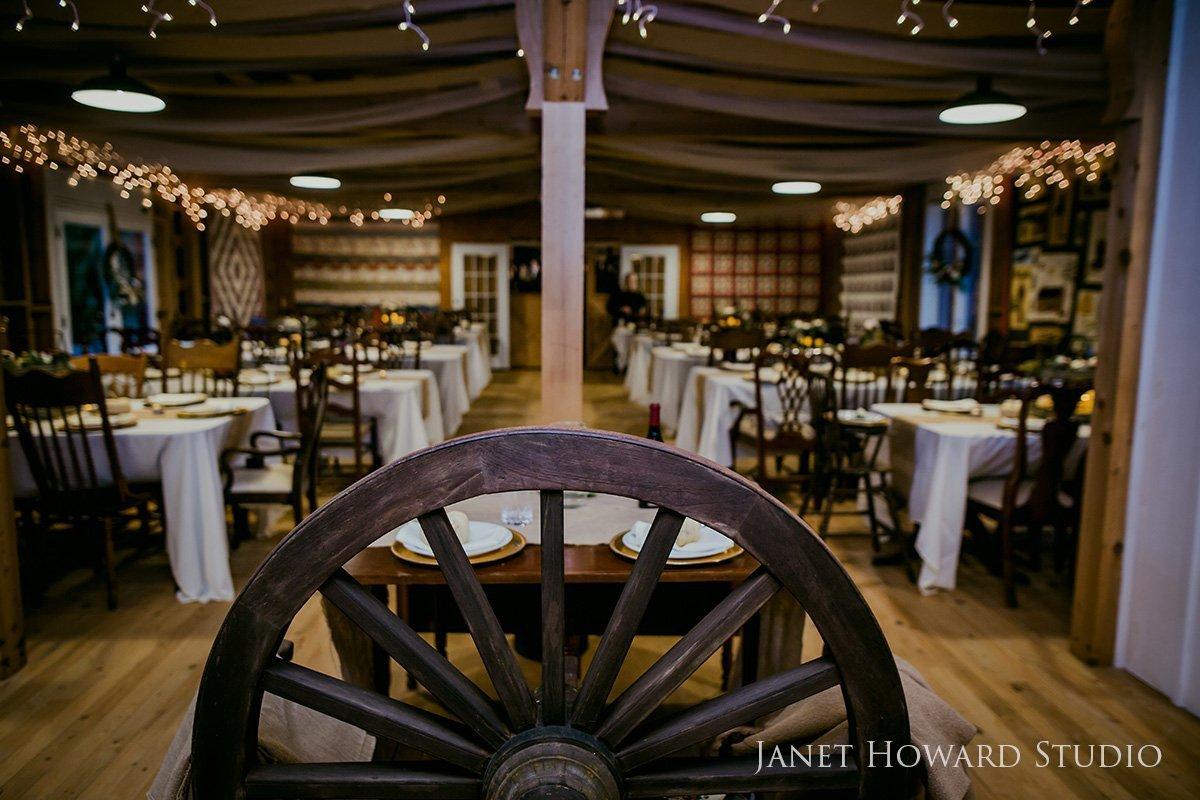 barn wedding reception with quilt decor