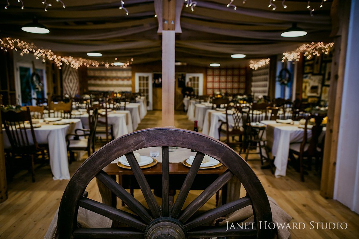 barn wedding reception with quilt decor
