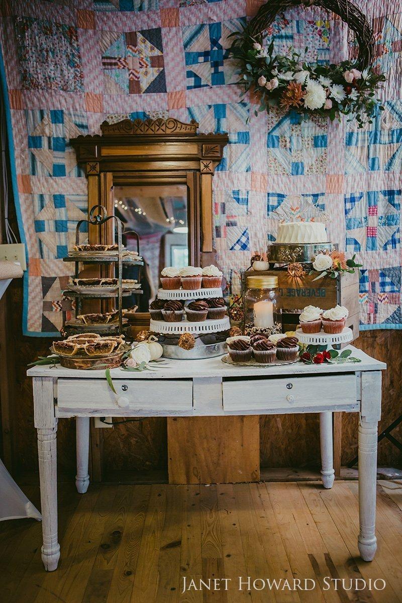 barn wedding dessert table
