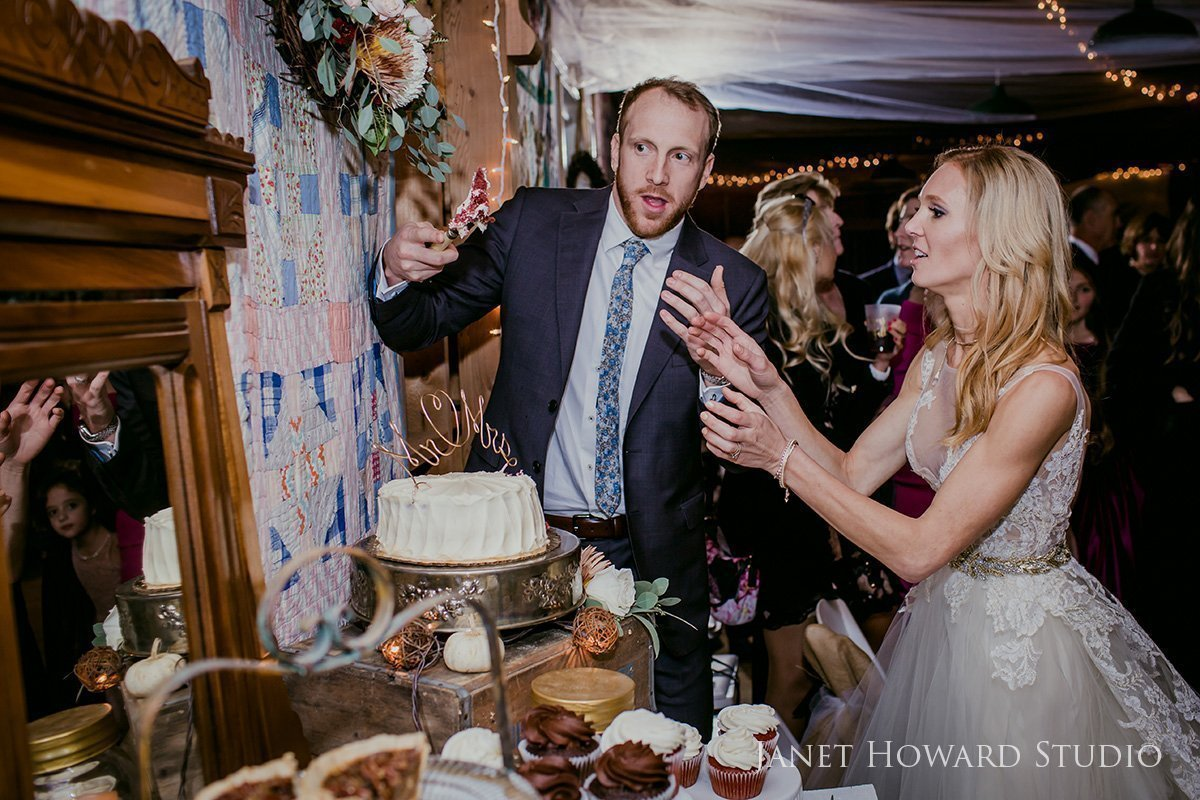 rustic wedding cake cutting
