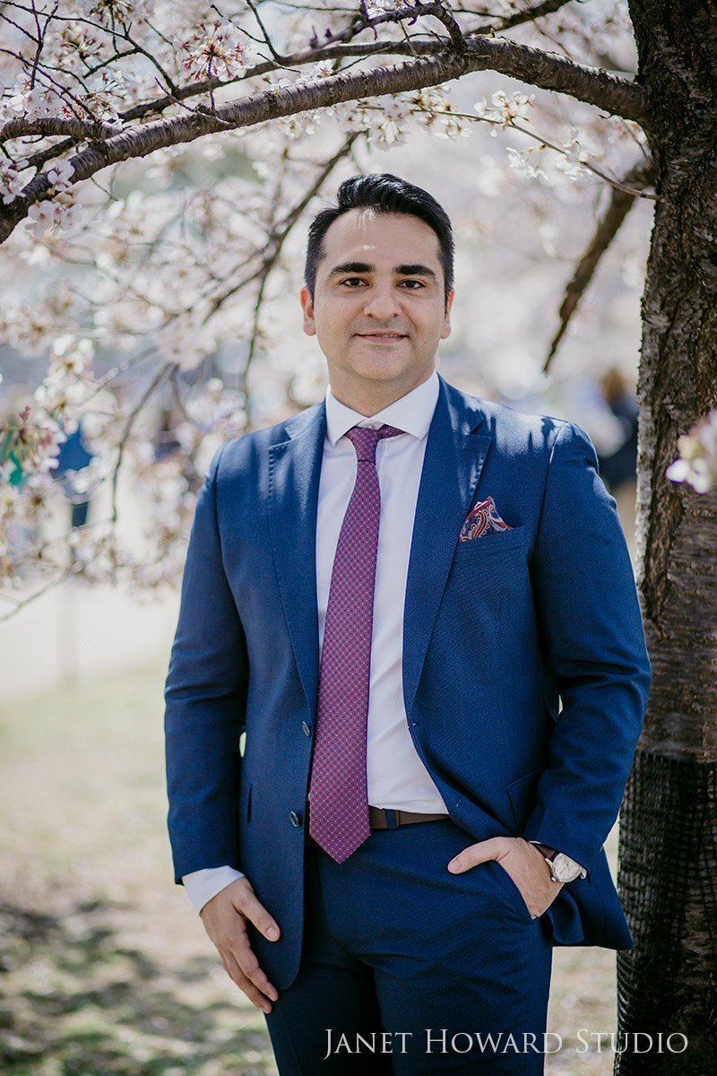 Groom in the cherry blossoms