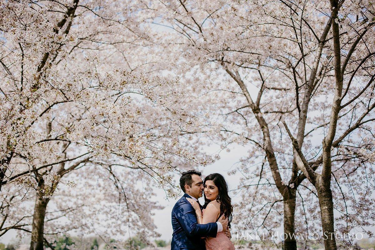 cherry blossom festival engagement photos