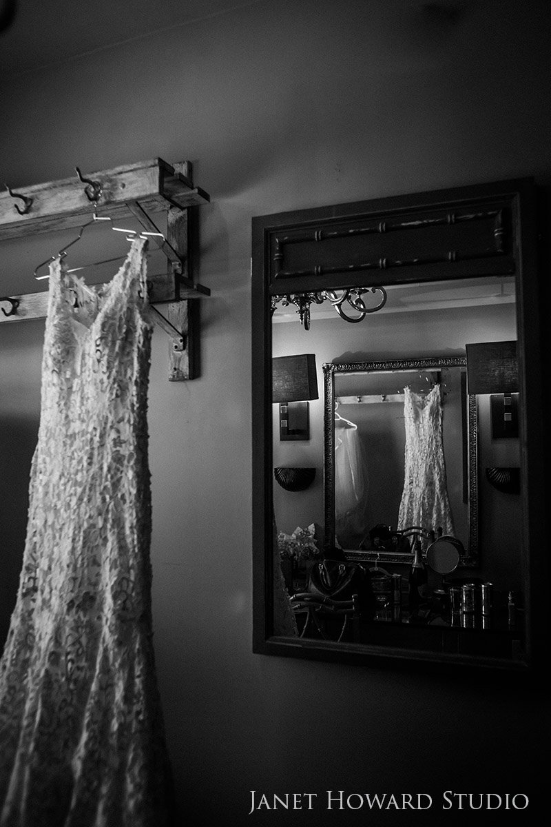 Wedding dress hanging up