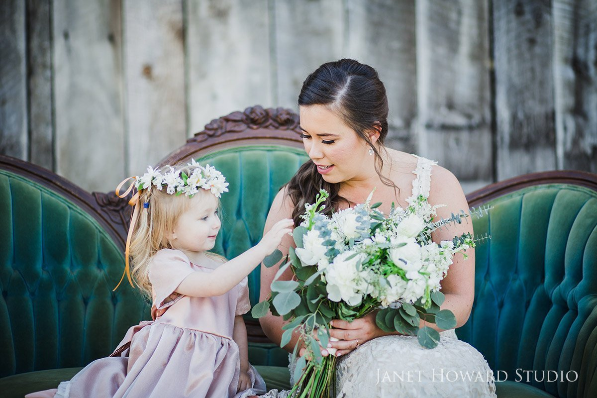 Flower girl and bouquet
