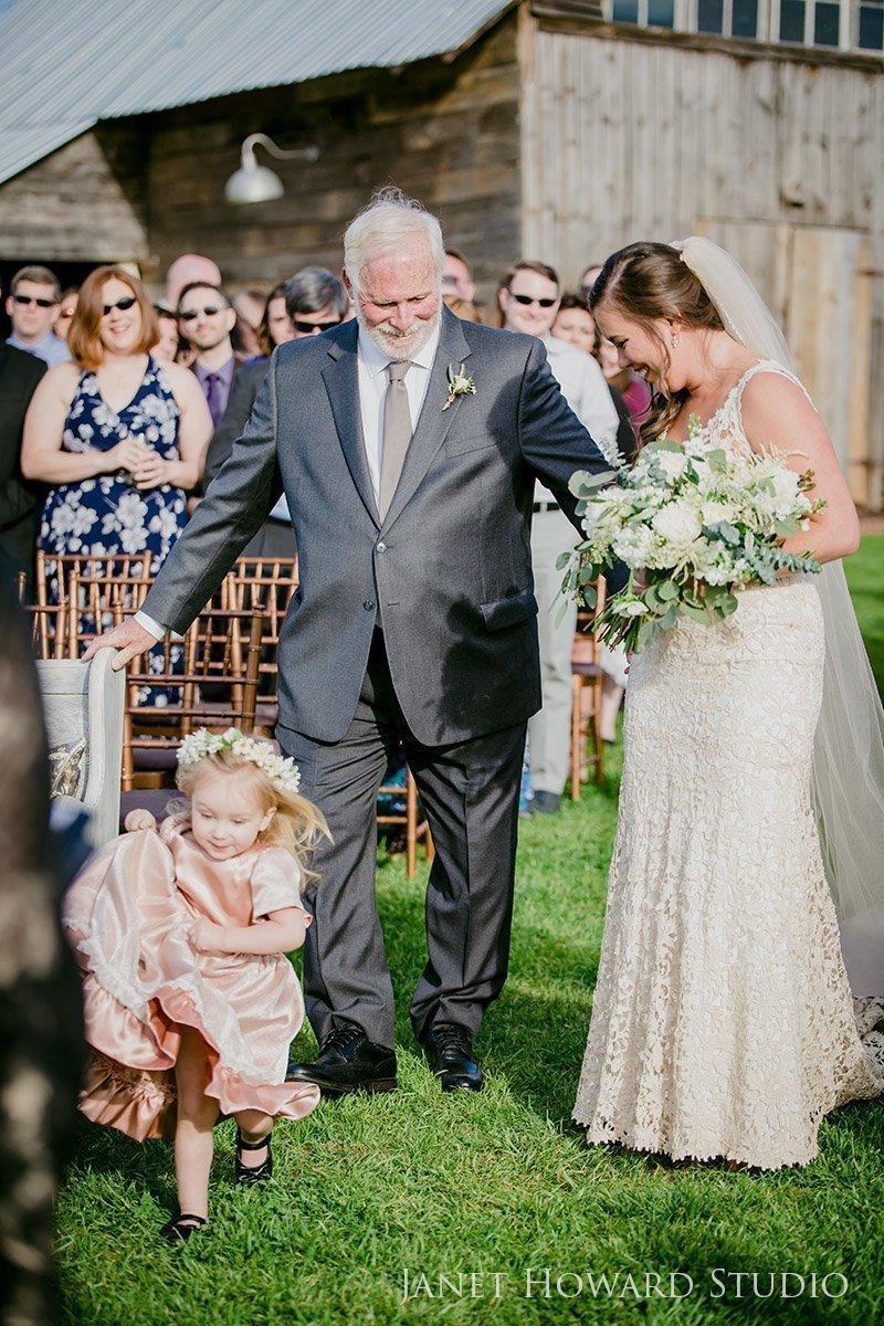 Flower girl during wedding ceremony
