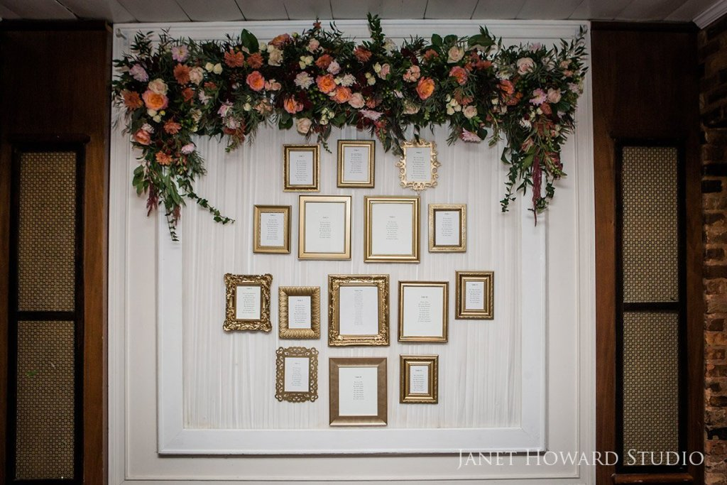 Seating chart in florals and frames