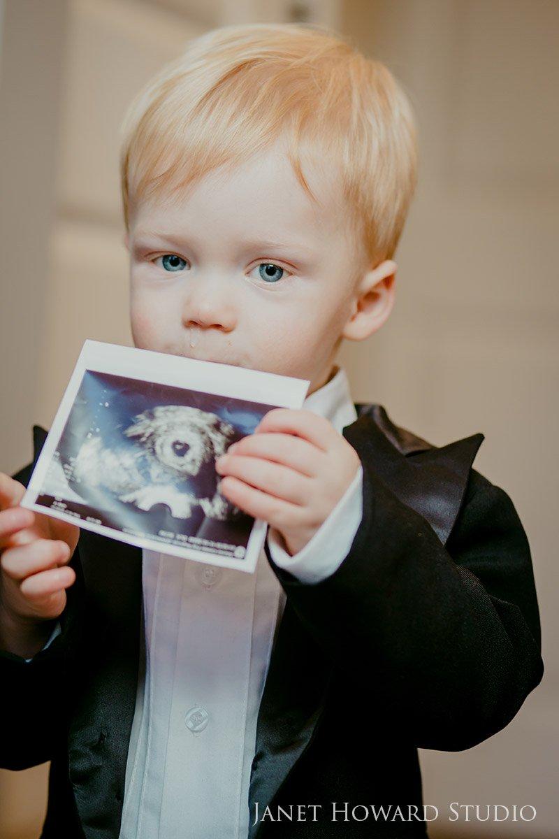 Boy holding ultrasound