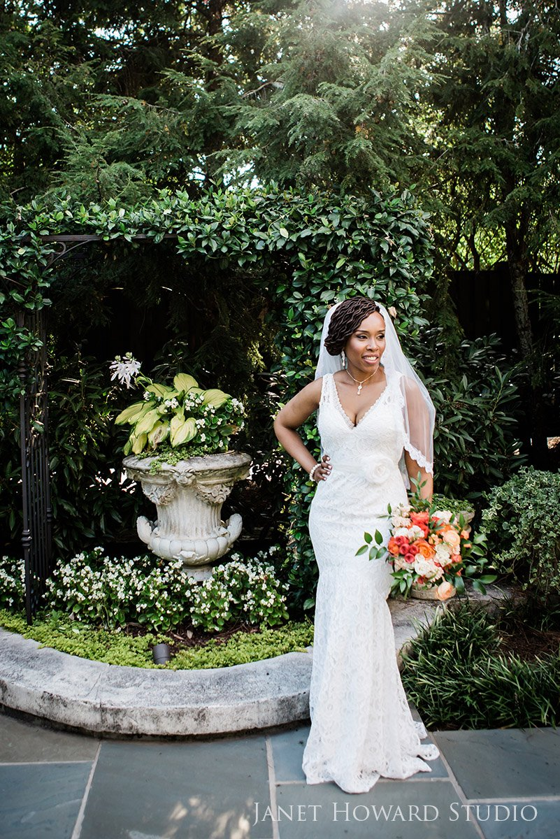 Bride in the Garden with Bouquet