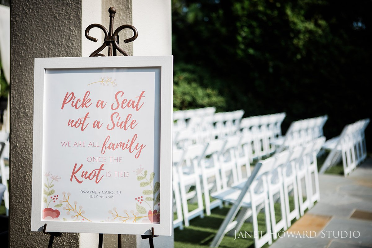 Pick a Seat Sign for Ceremony