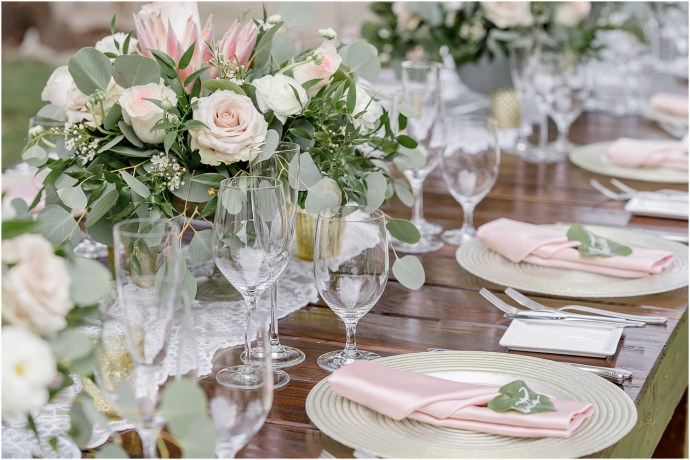 pink and green wedding decor