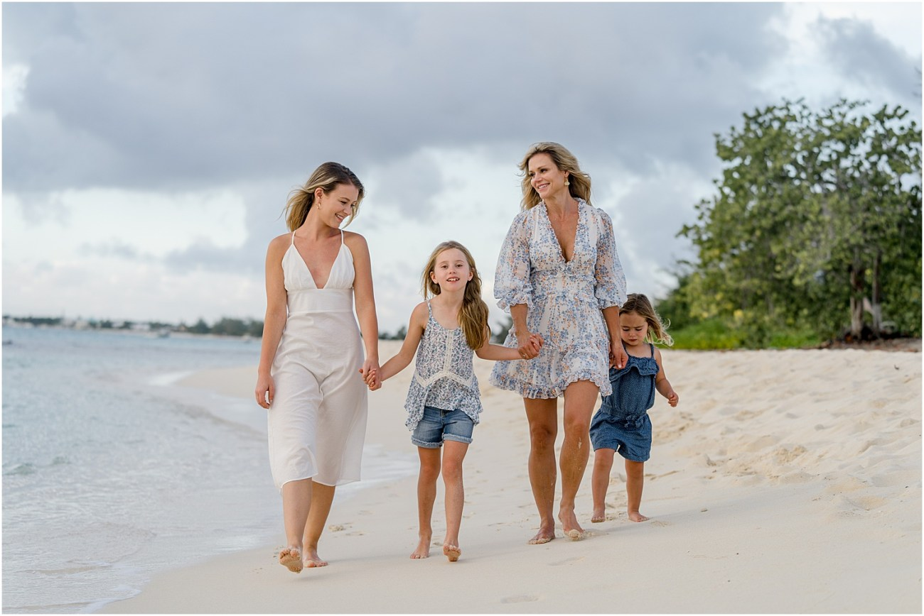 mother and daughters on beach