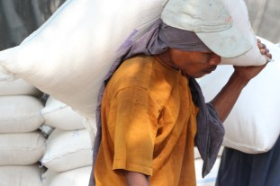 The men carry rice off the boats on their backs.