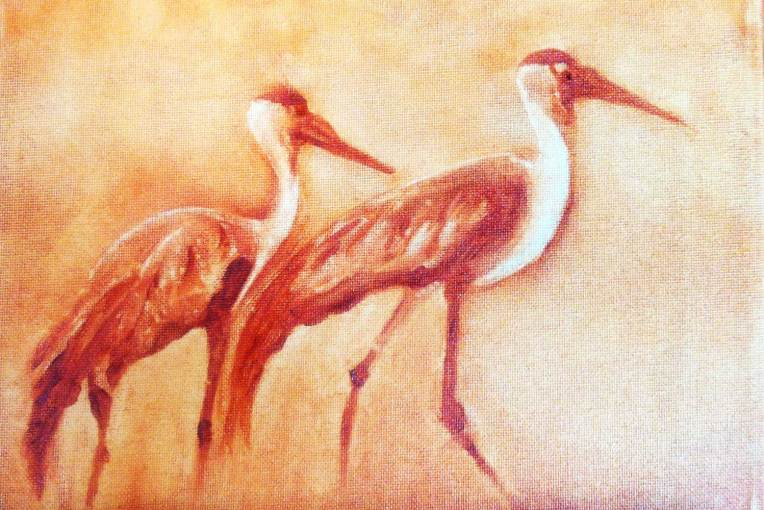 monochromatic oil painting of two cranes