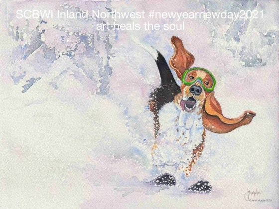 """""""Powder Hound"""" illustration ©Janet Murphy for SCBWI Inland Northwest #newyearnewday2021."""