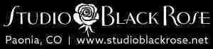 Studio Black Rose logo and tapestry weaving label.