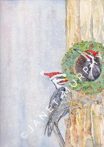 Pileated Woodpeckers watercolor illustration for Christmas greeting card