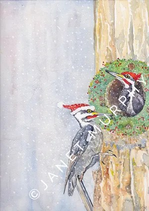 Pileated woodpeckers watercolor Christmas greeting card