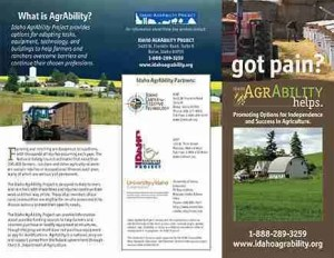 Brochure design for Idaho AgrAbility Project, University of Idaho Idaho Assistive Technology Project.