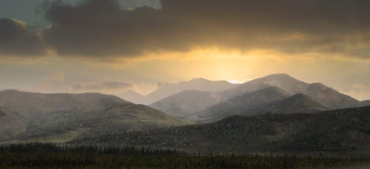 Sunset, BC, Alaskan Highway, Skies, Clouds, mountains, landscape