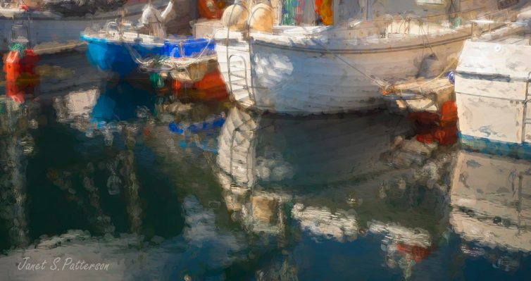 Reflections, boats, seascape, painterly