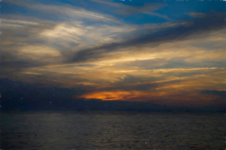 Sunset, Nfld, painterly effect