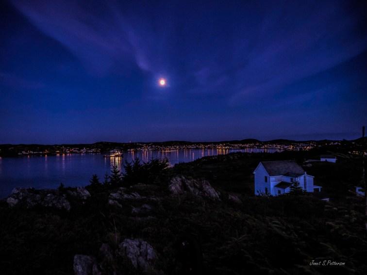 Moonrise, seascape, town, NL landscape
