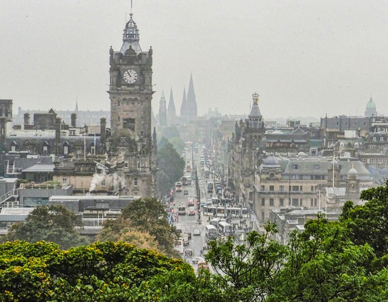 Cityscapes, Edinburgh, Scotland, fog, rain