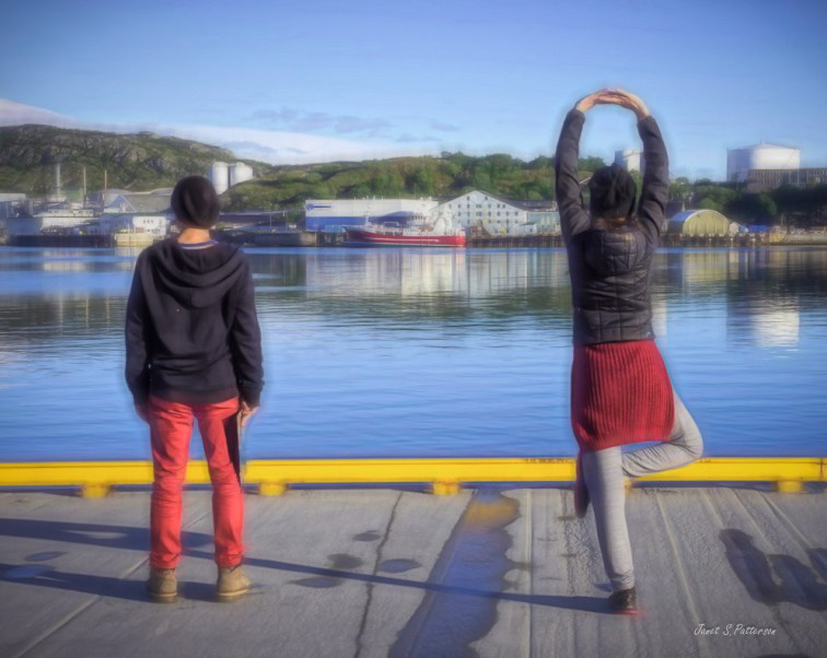 people, seascape, water, harbour, poses, Bodo, Norway