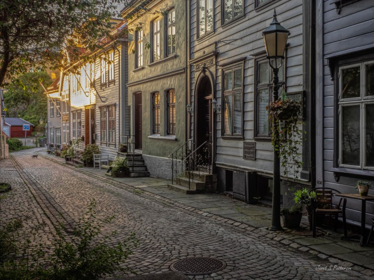 cityscape, sunset, street, houses, Bryggen, Bergen, Norway