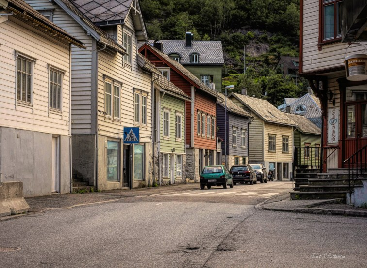 Cityscape, Odda, street, houses, car, Norway, traditional, architecture
