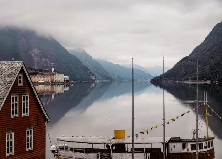 seascape, landscape, fog, harbour, Odda, boat, hills, Norway