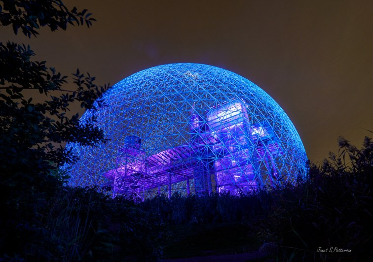 architecture, biodome, geodesic, Montreal, night,
