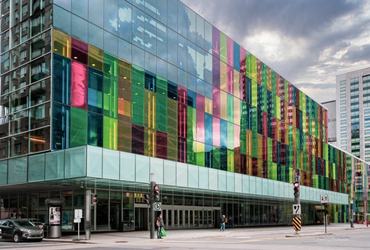 architecture, cityscape,  Palais de Congres, convention centre, colourful, people, street