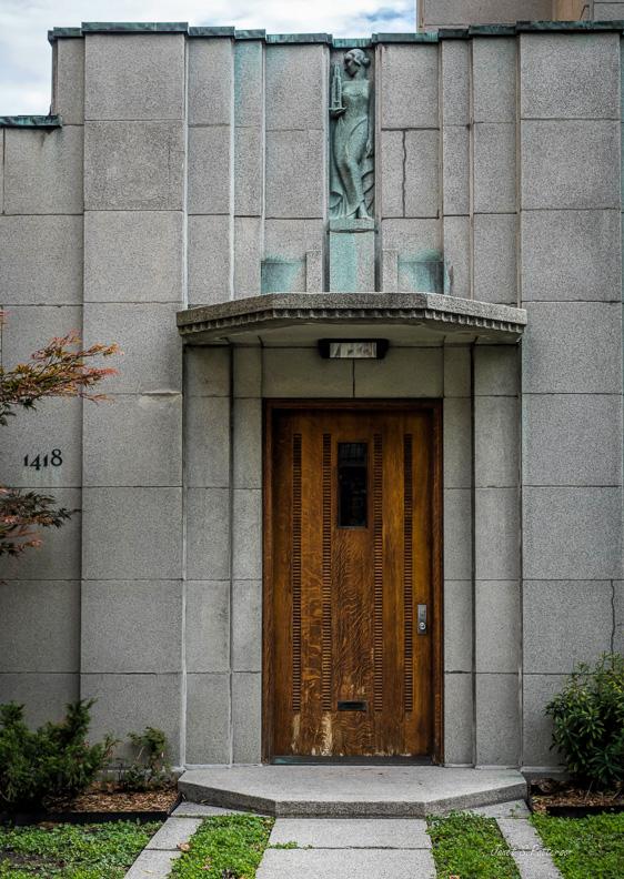 door, art deco, Cormier house, Trudeau, wood, Montreal