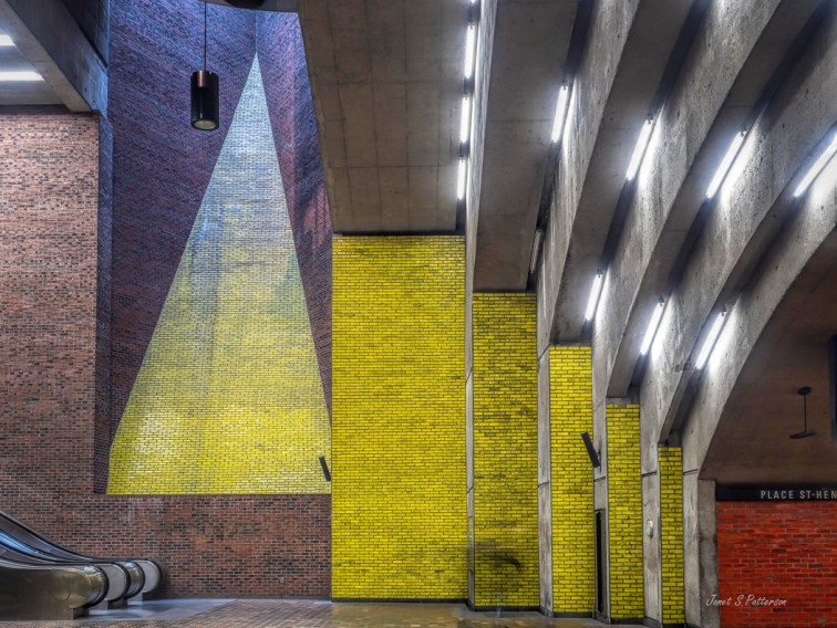 architecture, Place St. Henri, Metro station, Montreal, yellow, red