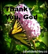 "Butterfly on lilac, with text ""Thank You, God"""