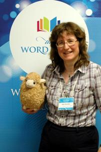 Janet and Eowyn the sheep at Write Canada