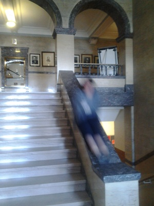 Blurred image of Janet sliding down the banister