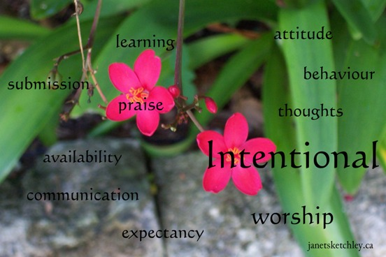 Intentional: worship, communication, behaviour, praise, submission, learning, attitude, availability, thinking, expectancy