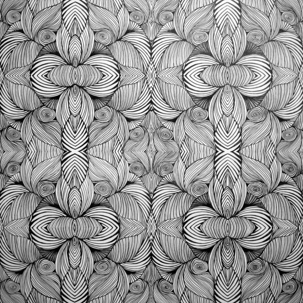 patterns of obsession drawing leaf flower by Janet Towbin Swirls Mirror graphite on paper