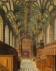 Chapel Royal at Hampton Court Palace, aquatint engraving by w. H. Pyne published as plate 33 of The History of the Royal Residences; via Wikimedia Commons