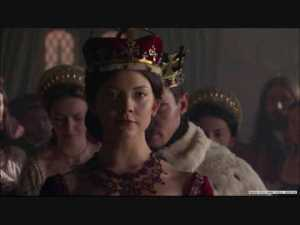 Anne Boleyn's ennoblement, as immortalized by Showtimes' The Tudors (Natalie Dormer as Anne, Jonathan Rhys-Meyer right behind her as Henry)