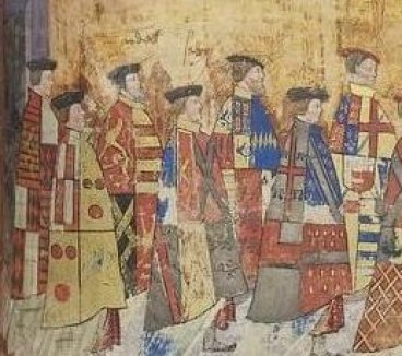 Henry Courtenay (second from left), detail from Procession of Garter Knights in  the Black Book of the Garter, c.1535, Royal Collection, Windsor