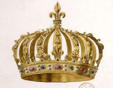 Drawing by French historian Dom Felibien of the special crown made for Henri IV