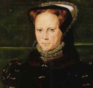 Detail from a portrait of Mary I, painted by Hans Eworth 1555-1558