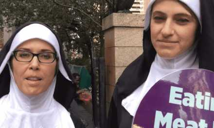 """Sisters"" of Mercy Hit New York City's Papal Route with a Friendly Message for Pope Francis from PETA!"