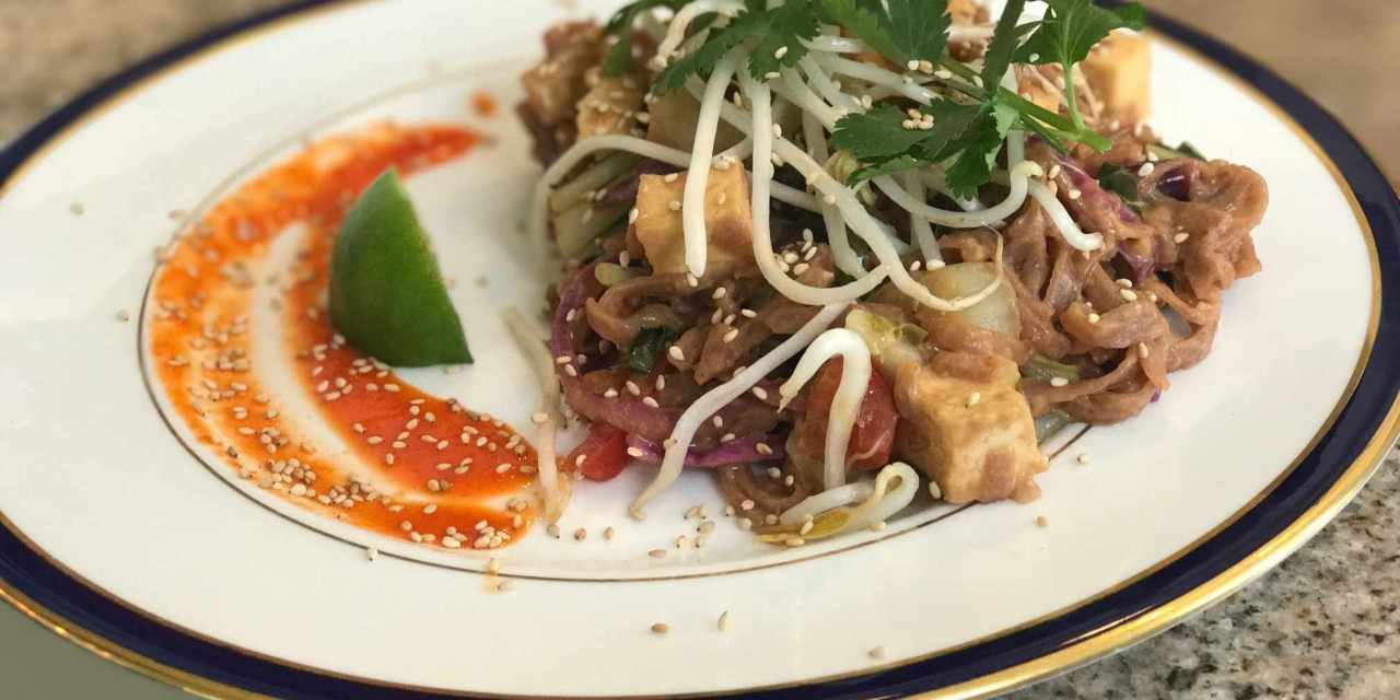 Healthy Pad Thai with Red Rice Noodles