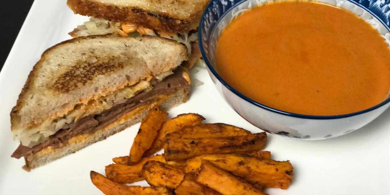 Reuben Sandwich, Creamy Tomato Soup & Sweet Potato Fries (all vegan of course)
