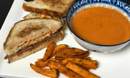 Reuben Sandwich, Creamy Tomato Soup & Sweet Potato Fries (all vegan of course)